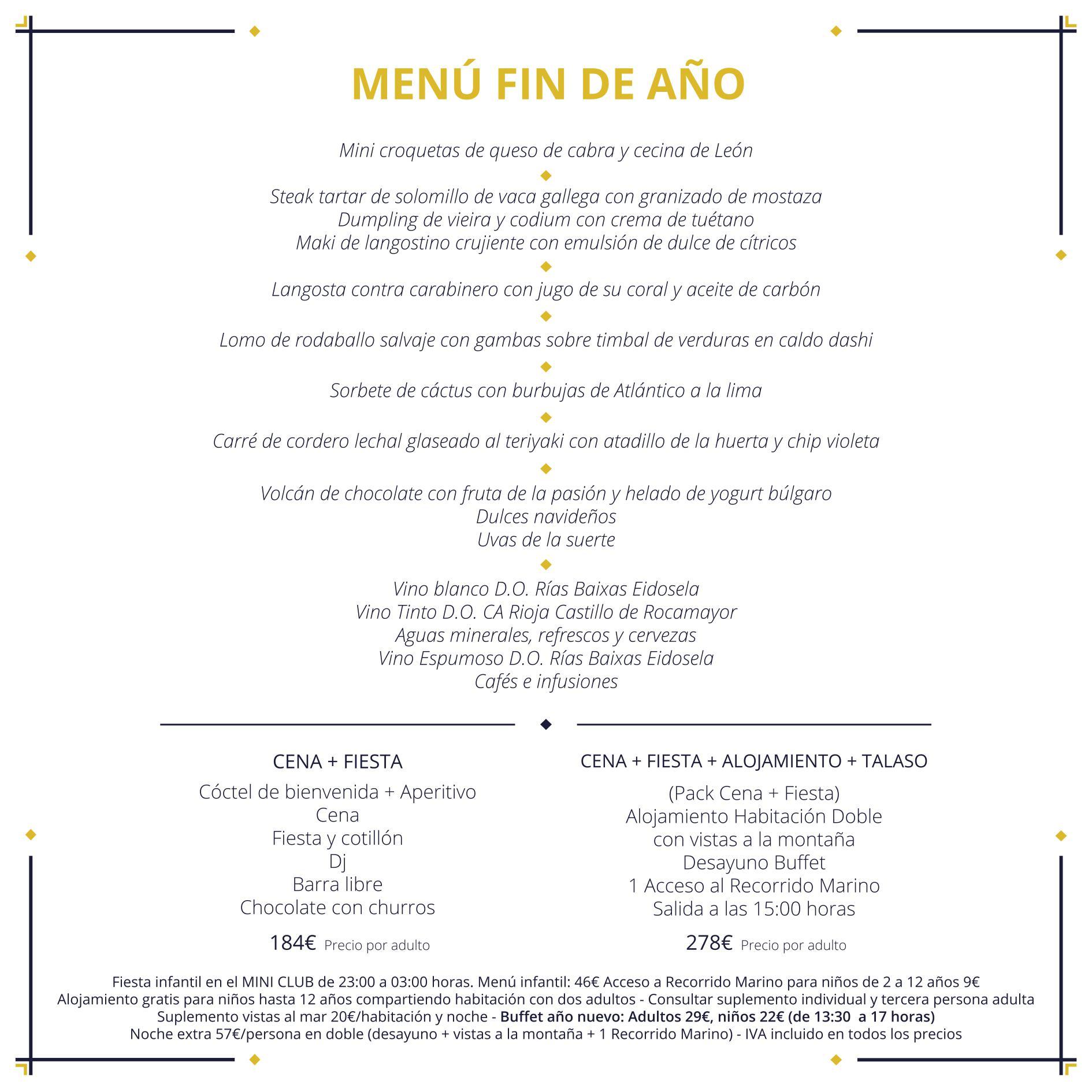 Hotel talasoterapia con restaurante para bodas y eventos for Menu de fin de ano en casa
